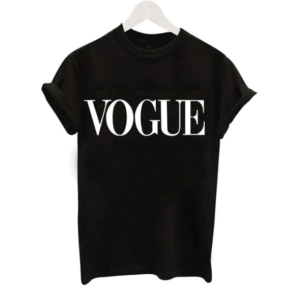 Polyester Short Sleeve Vogue Printed Pattern T- Shirt for Women