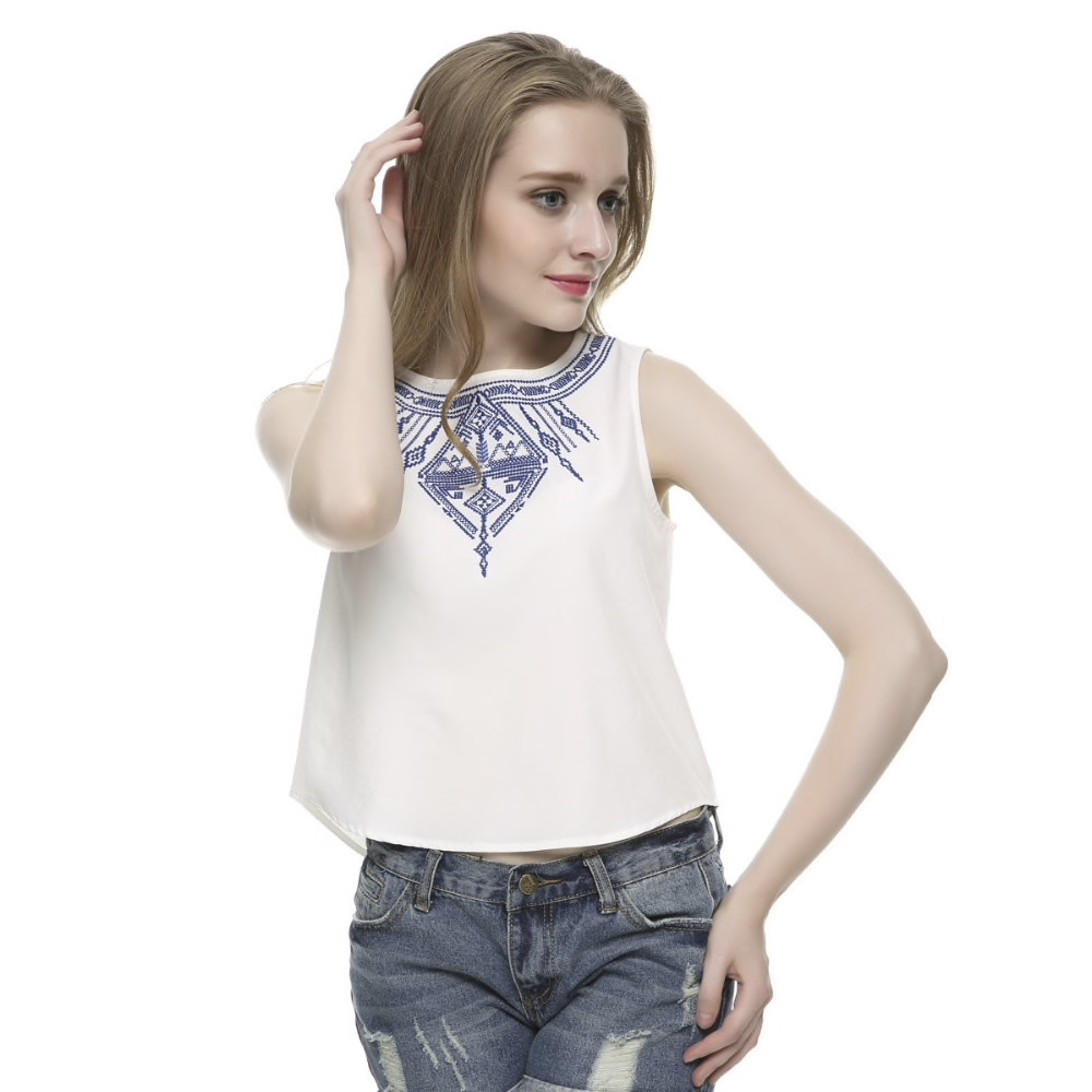 White Polyester Printed Neck Casual Women Top
