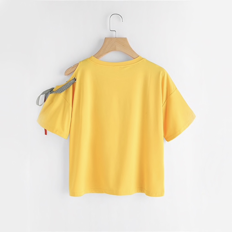Yellow Polyester Front Embroidery Casual Women Top