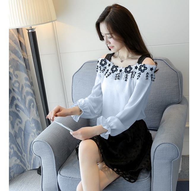Chiffon Floral Neck Cold Shoulder Women Top