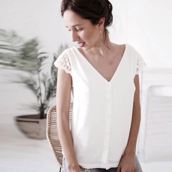 White Polyester Back Lace Work Casual Women Top