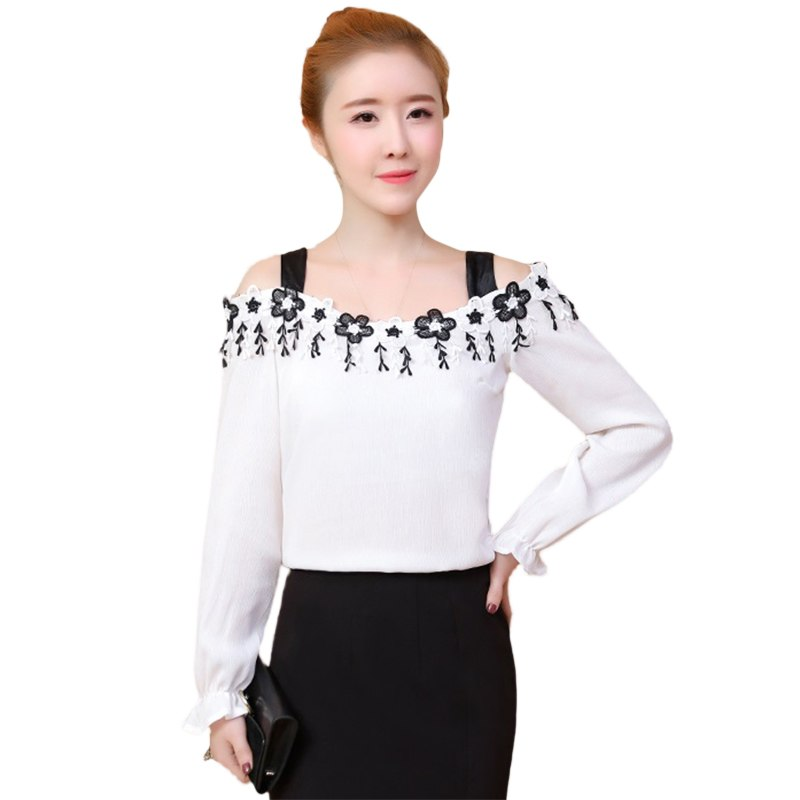 Chiffon Floral Embroidery Cold Shoulder Women Top