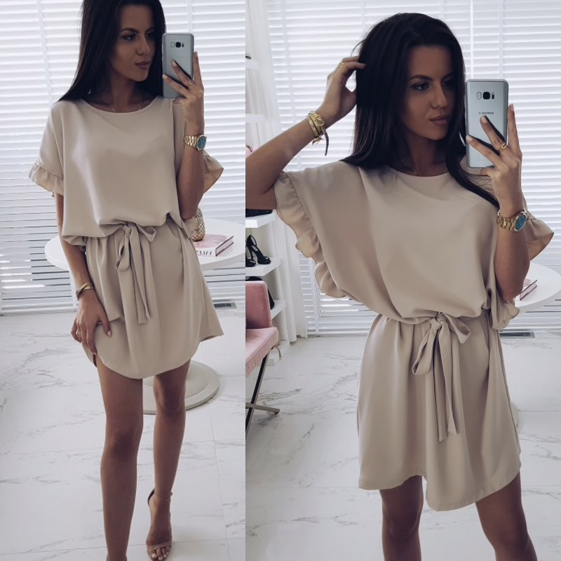 Polyester Plain Loose Sleeves Casual Short Women Dress