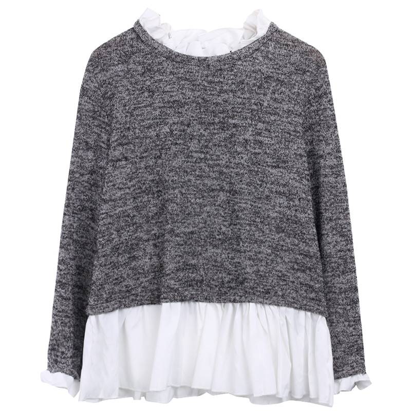 Grey Polyester Ruffled O Neck Layered Women Top