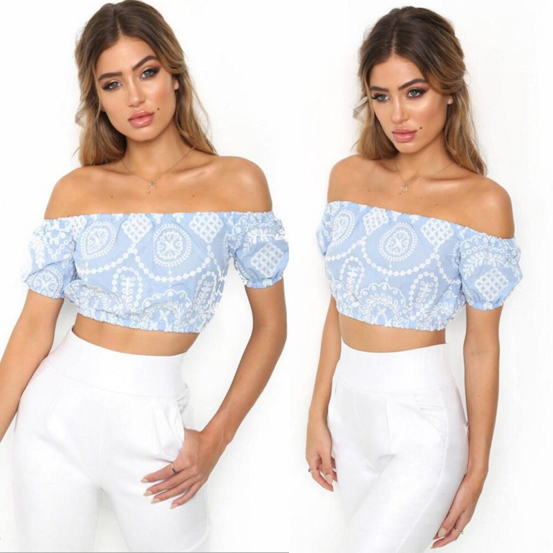 Polyester Printed Off Shoulder Crop Women Top