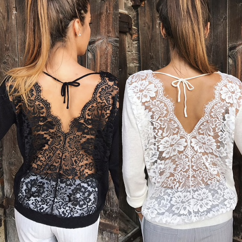 Polyester Plain Front Lace Worked Back Women Top