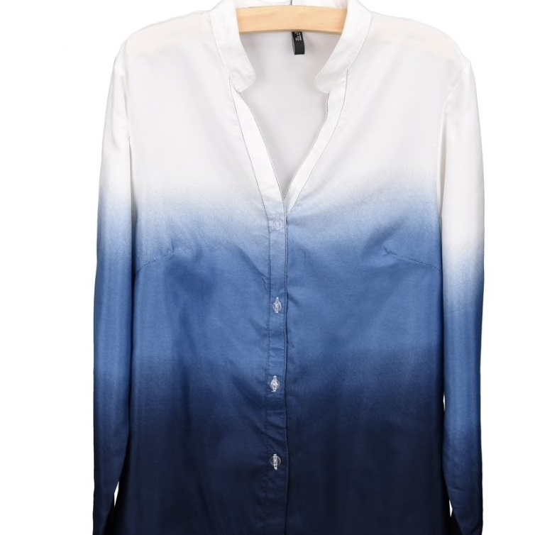 Blue Polyester Chinese Collar Shaded Women Top