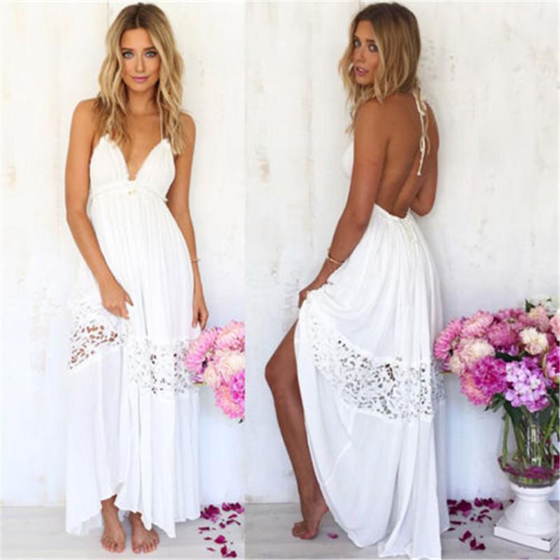 White Polyester A Line Long Women Dress