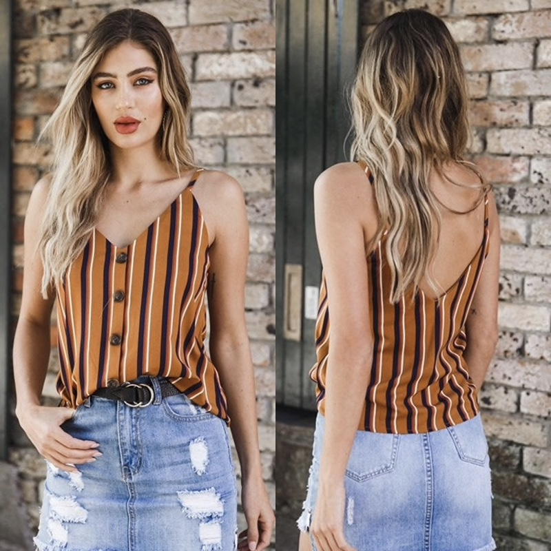 Brown Polyester Vertical Stripes Printed Casual Women Top