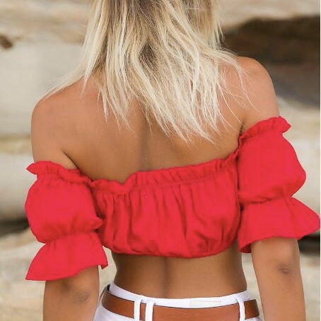 Polyester Elastic Off Shoulder Neck Crop Women Top