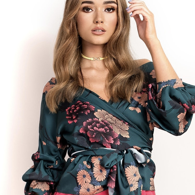Polyester Floral Printed Side Sash Knot Casual Women Top