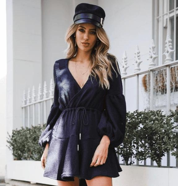 Polyester Sash Waist Flared Warm Women Dress