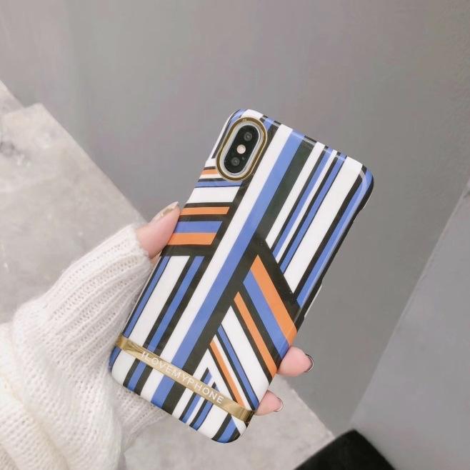 Blue Plastic Irregular Stripes Printed iPhone X Back Cover