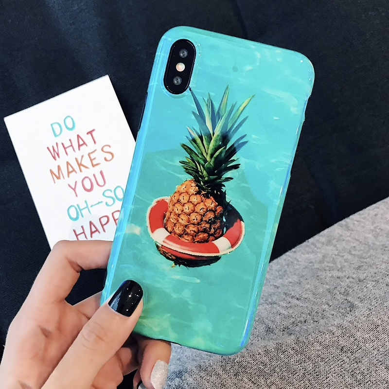 Blue Soft Plastic Pineapple Printed iPhone X Back Cover