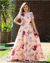 opulent-peach-colored-partywear-cape-sleeve-floral-printed-crepe-maxi-dress